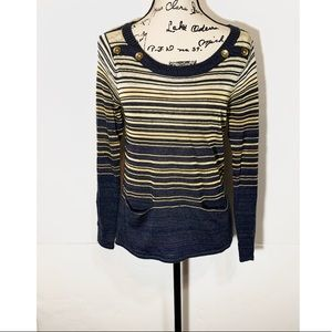 Democracy Striped Sweatshirt Button Shoulders